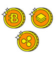 cryptocurrency black outline gold icons bytecoin vector image vector image