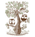 cute duo owls hang on the tree wildlife print vector image