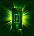 discharged and fully charged battery phone green vector image vector image