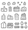doodle home set hand drawn house set cartoon style vector image vector image