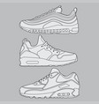 draw sneaker set design vector image