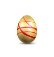 easter egg 3d icon gold red egg isolated white vector image