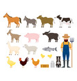 farm animals set with farmer and dog vector image vector image
