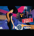 fashion woman in style pop art in paris vector image vector image
