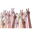 female hands with peace and female sign vector image vector image