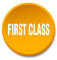 first class orange round flat isolated push button vector image vector image