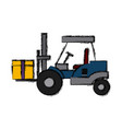 forklift loaded with cardboard boxes logistics and vector image