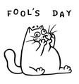funny fat doodle cat makes a comic face vector image
