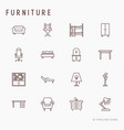 furniture concept thin line icons set vector image vector image