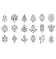geometrical leaves and trees big set collection vector image vector image