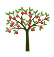 green tree and red apple fruits vector image vector image