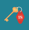 hotel door lock key with room number badge vector image