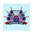 icelandic national day with national vector image