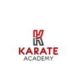 karate academy letter k icon vector image vector image