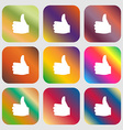 Like Thumb up icon Nine buttons with bright