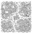 line art doodles cartoon set fastfood vector image vector image