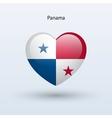Love Panama symbol Heart flag icon vector image