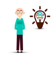 man with cogs inside bulb idea symbol isolated on vector image vector image