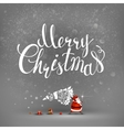 merry christmas hand drawn inscription and santa vector image vector image