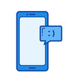 mobile chatting line icon vector image vector image