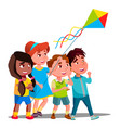 multinational children flying multi-colored kite vector image