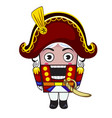 nutcracker toy in red suit isolated vector image vector image