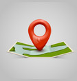 paper map icon with pin pointer vector image vector image