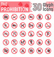 prohibition glyph icon set forbidden signs vector image vector image