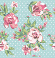 rose flowers seamless pattern in white polka dots vector image vector image