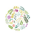 round decoration element - flowers leaves herbs vector image