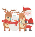 santa reindeers and snowman with scarf celebration vector image vector image