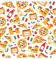 seamless pattern of pizza slices with ingredients vector image
