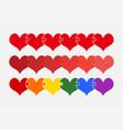 set color pieces puzzle of romantic three hearts vector image vector image
