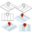set map with pin in 3d style travel navigation vector image vector image