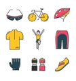 Set of 9 Bicycle Race modern colorful icons vector image vector image