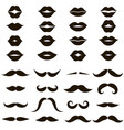 set of black mustache and women s lips icons vector image