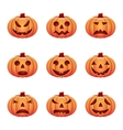 set of isolated pumpkins on white background vector image vector image