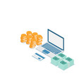 stack of money and credit card with laptop vector image