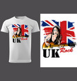 t-shirt design with guitarist girl vector image
