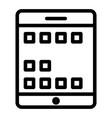 tablet screen line icon digital tablet vector image vector image