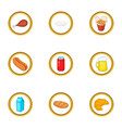 tasty food icons set cartoon style vector image vector image