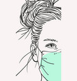teenage girl in medical face mask with long hair vector image