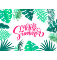 text hello summer in floral leaves frame hand vector image vector image