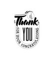 thank you for your congratulations banner badge vector image