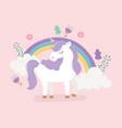 unicorn rainbow flowers floral decoration fantasy vector image