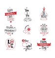 Valentines Day typographic design set on white vector image