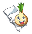 with flag fresh yellow onion isolated on mascot vector image
