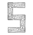 wooden number 5 engraving vector image vector image