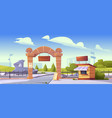 zoo entrance with stone arch and cashier booth vector image vector image