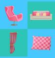 sofa and pillows interior set vector image
